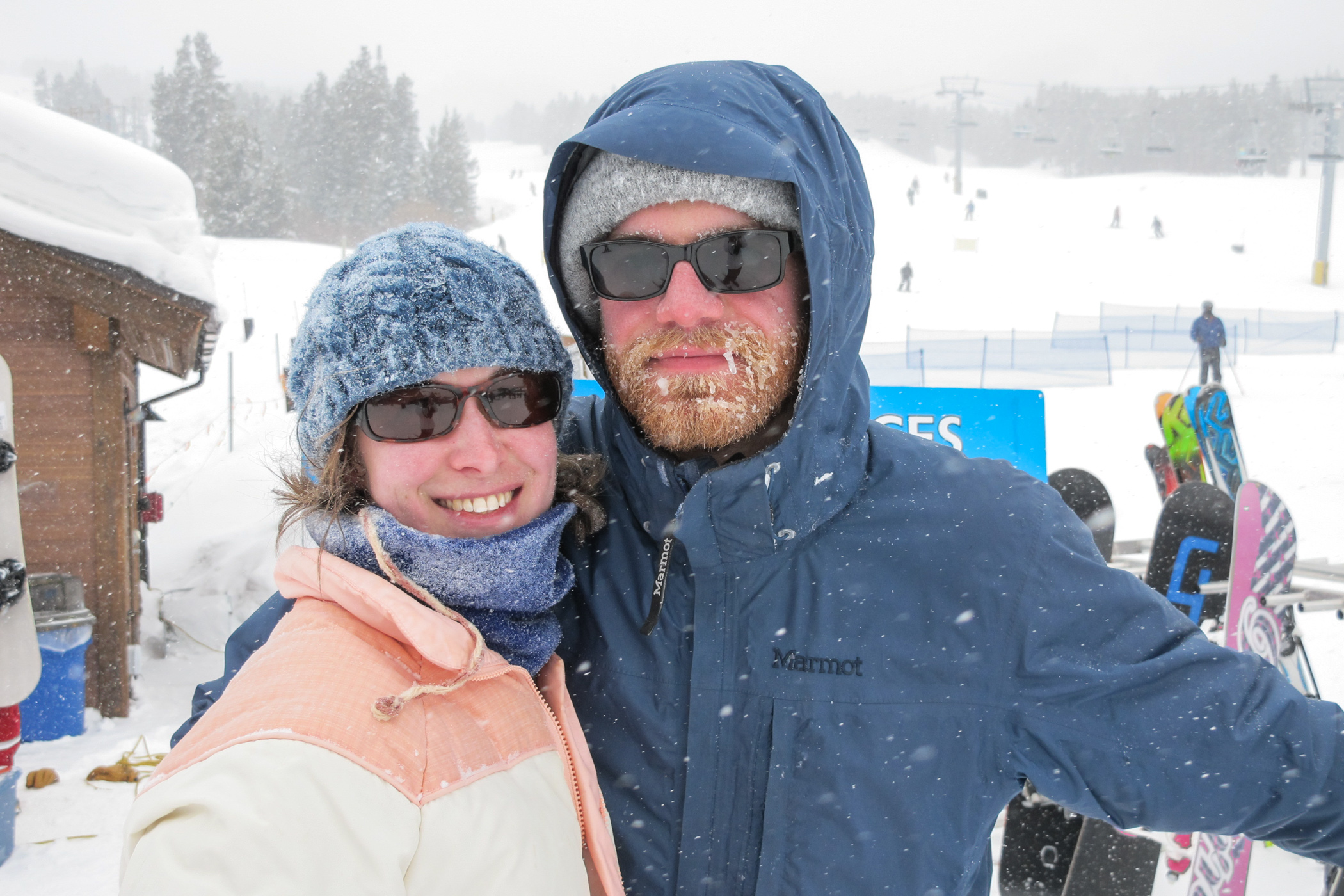 Alisa and Earl skiing during snow